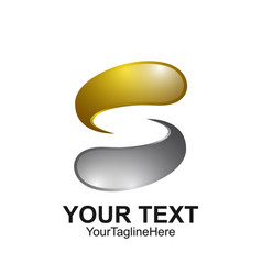 Letter s logo design template colored silver gold vector