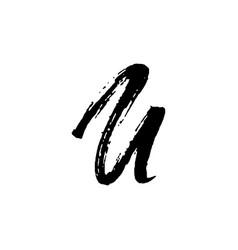 Letter u handwritten by dry brush rough strokes vector
