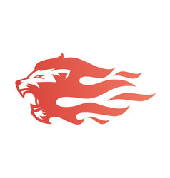 Lion fire flame logo tattoo vector