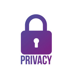 lock icon privacy word secure concept isolated on vector image