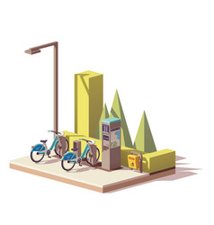 low poly bicycle sharing system vector image