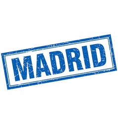 Madrid blue square grunge stamp on white vector