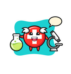 Mascot character switzerland as a scientist vector