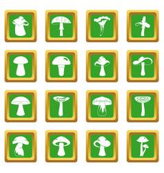 Mushroom icons set green vector