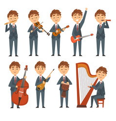 Musicians boys playing different musical vector