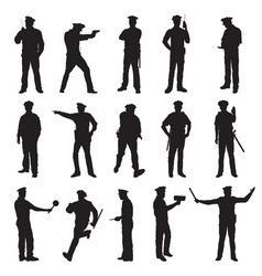 new york police set of fifteen black silhouettes vector image