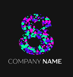 number eight with pink purple green particles vector image