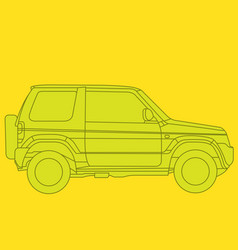 Off-road mini suv side view - outline of 4x4 car vector