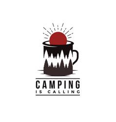 Outdoor adventure camping badge logo vector