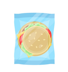 Packaged hamburger icon in flat design vector