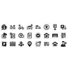 parking icons set garage valet servant and vector image