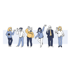 people greetings happy men and women cheerfully vector image