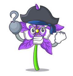 Pirate columbine flower character cartoon vector