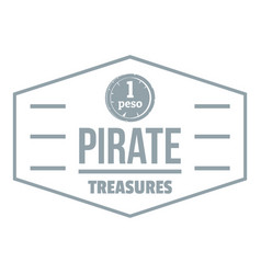 pirate treasures logo simple gray style vector image