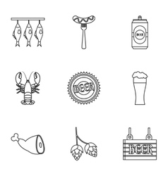 Pub icons set outline style vector