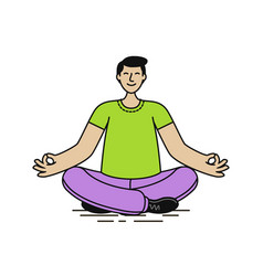 relaxed man sitting in lotus position yoga relax vector image