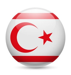 Round glossy icon of northern cyprus vector image