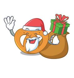 santa with gift pretzel mascot cartoon style vector image