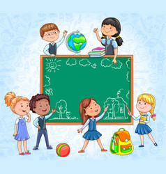 School board with cute children around draw with vector