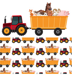 seamless background design with animals on tractor vector image
