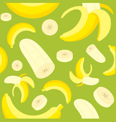 seamless pattern banana and banana peel flat vector image