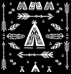 Seamless pattern with wigwams arrows and feather vector