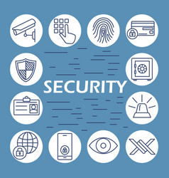 security flat icons set vector image