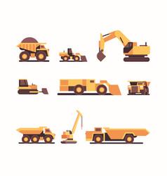 Set different heavy yellow industrial machines vector