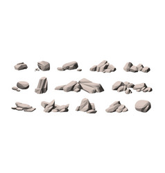 set large and small heavy polygonal stones vector image