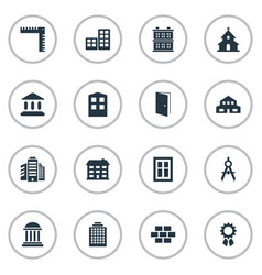 set of 16 simple structure icons can be found vector image
