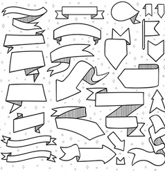 Set of 25 tapes and arrows doodle handmade with vector image