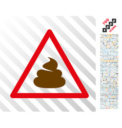 Shit warning flat icon with bonus vector