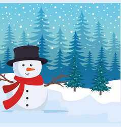 snowscape field with snowman scene vector image