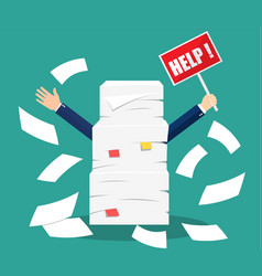Stressed businessman under pile of office papers vector
