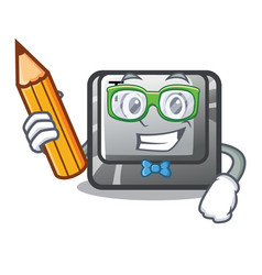 Student t button installed on character computer vector