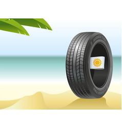 summer tire on the hot beach vector image