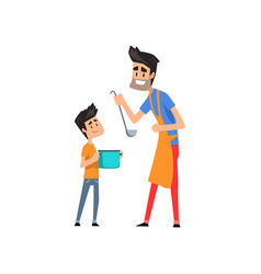 super hero dad cooking food for his son vector image