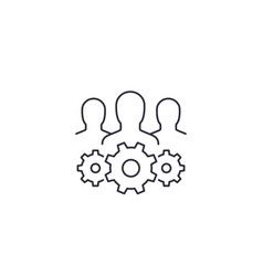 Team interaction and management line icon on white vector