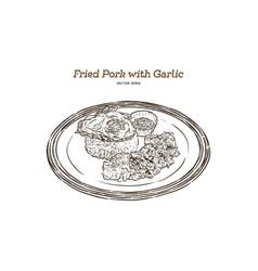 thai style food pork fried with crunchy garlic vector image