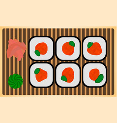 Traditional japanese dinner meal rice roll sushi vector
