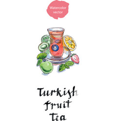 turkish fruit tea in traditional glass cup with vector image