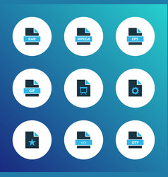types icons colored set with file gif file vector image