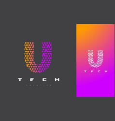 U letter logo technology connected dots letter vector