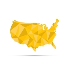 USA triangulated map Golden silhouette on white vector image