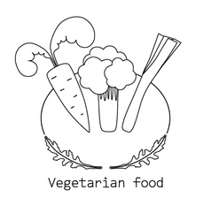 Vegetarian food mono line logo with vegetable vector image