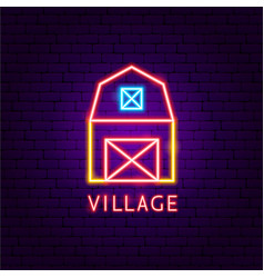 village neon label vector image