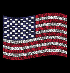 Waving american flag stylization filled vector