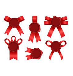 wax seal with ribbon set vector image