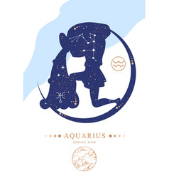 Witchcraft card with astrology aquarius zodiac sig vector