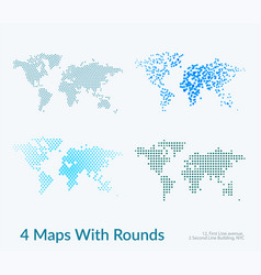 world map with circles rounds dots for vector image